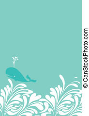 Whale Border - Fun, waves border with cute whale in...