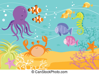 Sea Creatures Underwater Scene - Underwater scene with...