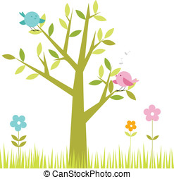 Spring scene -green tree and cute b - Tree with cute birds...