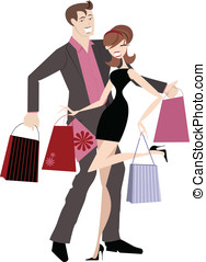 Happy Shopping Couple - Chic couple on a spending spree with...