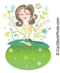 Serene yoga woman - Peace on earth - Serene woman in yoga...