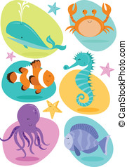 Sea Creatures - Set of six fun character sea creatures...