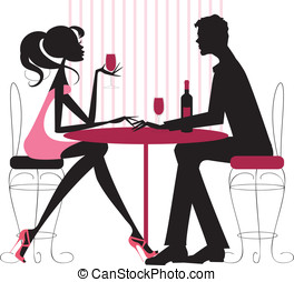 Couple sharing romantic dinner - Silhouete in pinks and...