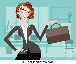 Female executive with office backgr - Pretty office worker...