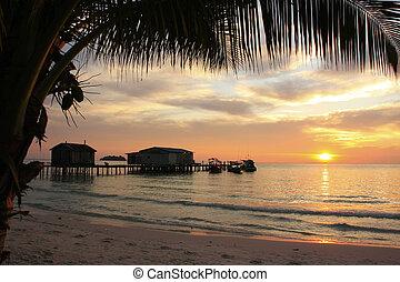Sunrise at Koh Rong island, Cambodia, Southeast Asia