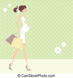 Chic Pregnant Woman - Pretty Mom Mum to be with shopping...