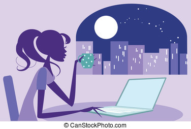 Girl working late on her laptop - Pretty woman surfing the...