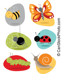 BugsInsects set cute characters - Cartoon bugs and insect...
