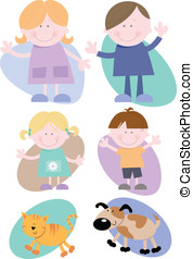 Happy Family Set - Vector illustrations- Cheerful Family...