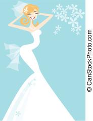 Wedding - Happy Bride - A pretty smiling bride in white...