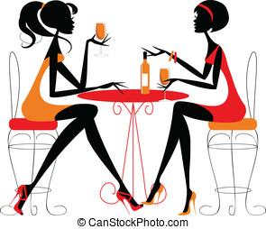 mulheres, compartilhar, garrafa, vinho