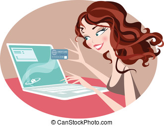 Internet Shopper - Pretty woman browsing the internet on her...