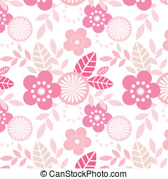 Funky Flowers Pattern - Cool pink repeating floral pattern-...