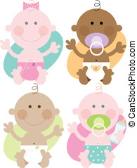 Four babies - Varied skin colours - Multi ethnic babies -...