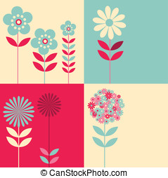 Vintage colour floral set - Four different floral graphic...