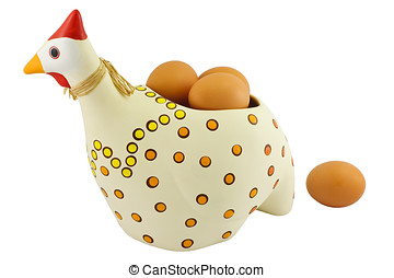 Pottery hen with eggs
