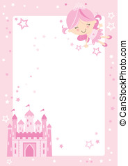 Cute fairy princess border - Pretty pink fairy character...