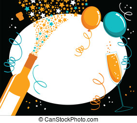 Champagne celebration border - Black border with orange and...