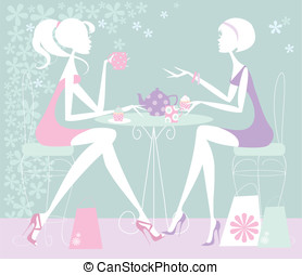 Two Girls chatting over cup of tea - Pastel illustration of...