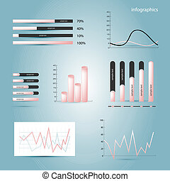 Infographics elements. Diagrams in pink colour. Vector...