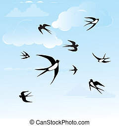 bird, swallow, seamless, backround,