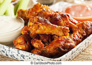 Hot and Spicey Buffalo Chicken Wings with celery