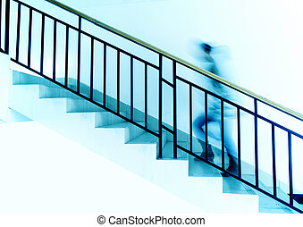 Go upStairs - Woman on the stairs(Blue)
