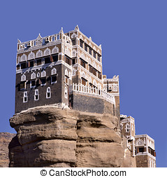 Summer palace of imam Yahya at the top of a rock in Wadi...