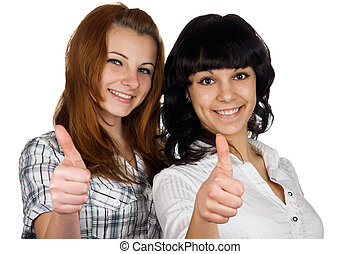 Two young girls show the thumb, isolated on white