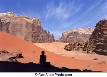 four wheel drive, Wadi Rum desert, Jordan - Four wheel drive...