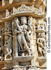 sculpture on hinduism ranakpur temple in india