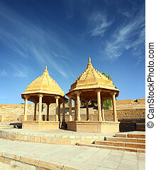 old jain cenotaph in jaisalmer india - old jain cenotaph in...