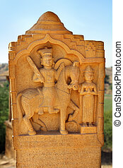 old indian sculpture in cenotaph Bada Bagh - Jaisalmer India