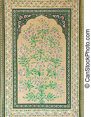 old indian floral ornament on door in India - old indian...