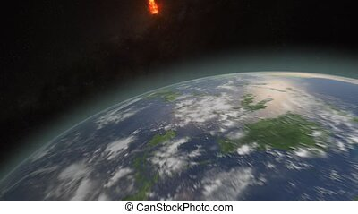 Asteroid hitting Earth exploding and dislocating clouds in a...