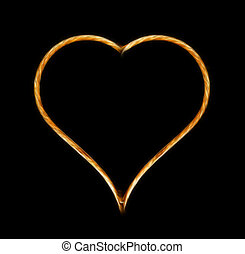 Heart - Glowing heart on black background