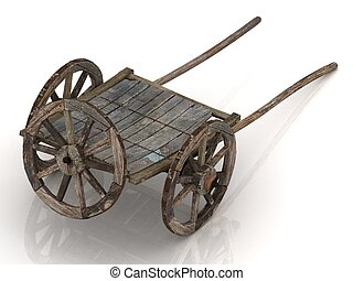 Old wooden cart with a spare wheel. A parody of the old car...