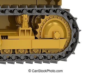 Caterpillar track close-up of a yellow bulldozer