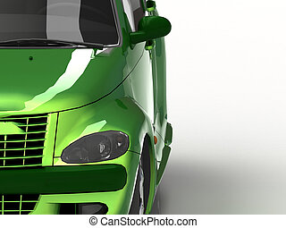 Car green with reflections of light on the hood and the...