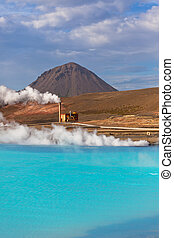 Geothermal Power Station and Turquoise Lake in Iceland -...