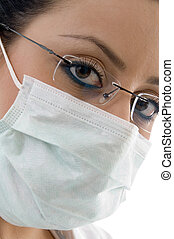female doctor with mask on an isolated background