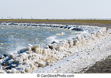 Extreme Ice Storm Hits Lake Shore Thick ice coats the shore...