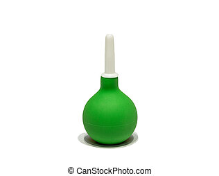 Medical green enema isolated on white background. Studio...