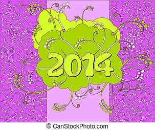 Happy New Year card - 2014 - Happy New Year card in neon...