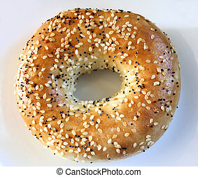 Bagel - Fresh wholesome bagel with poppy and sesame seeds