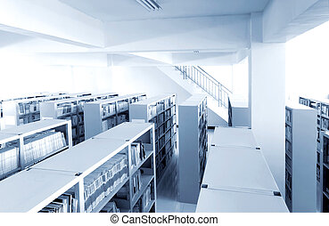 Library shelves, a large number of books