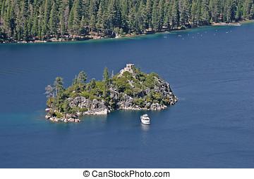 Lake Tahoe Fannette Island - Fannette Island and tour boat...