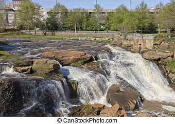 Greenville Falls, South Carolina - The waterfalls and...
