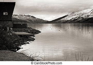 Tranquil water at Lochernhead in Scotland - Shot of Tranquil...