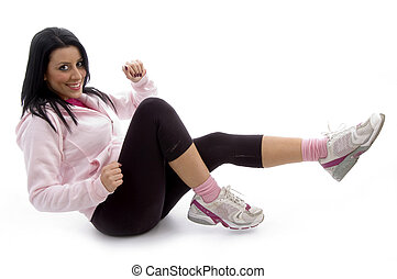 side view of exercising woman